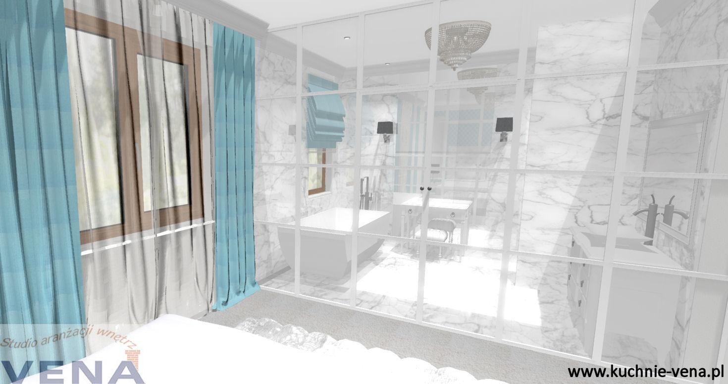 Projektowanie wnętrz Lublin, Warszawa Vena- aranżacja sypialni z łazienką- projektant wnętrz Lublin